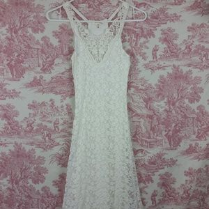 Long White Lace Maxi Summer Dress Lined Size XS
